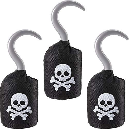 Kostüm Piraten Thema Party - Boao Kapitän Piraten Haken Vlies Piraten Haken Kostüm Zubehör Requisten für Halloween Party Piraten Thema Party Gefallen Zubehör (3 Packungen)