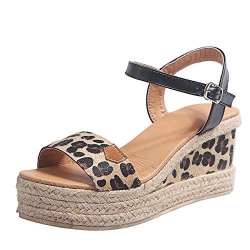 LuckyGirls Chic Sandalias Mujer Plataforma Cuña Verano 2020 Leopardo Zapatos Mujer Tacon Altas Elegantes...