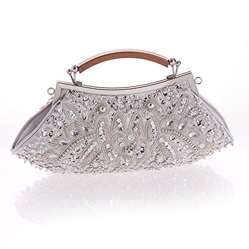 Sallyshiny-Borsetta con cristalli, perline e paillettes Evening Clutch Bag-Borsa sacchetti per feste e matrimoni (argento)
