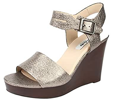 Clarks Women's Orleans Jazz Grey Metallic Leather Fashion Sandals - 7 UK
