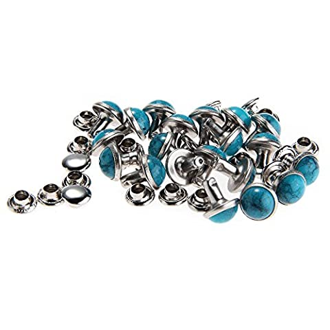 Skyllc® 20 PCS Blau Türkis Lederhandwerk DIY Schnell Gestüt Hengst Nieten Knöpfe Schrauben Zurück 7mm für Tasche & Bekleidung Dekoration
