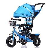 Luxus 4-in-1 Kind Dreirad Fahrrad Boy's Bike Mädchen Fahrrad für 6 Monate-6 Jahre alt Baby drei Räder Trolley mit Markise und Eltern Griff | Dämpfung | Dämpfung | Faltbar | Vollgummirad ( Farbe : Blau )