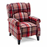 More4Homes EATON WING BACK FIRESIDE CHECK FABRIC RECLINER ARMCHAIR SOFA CHAIR RECLINING CINEMA (Red)