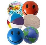 Stressballs 6 x Gemischte Antistressball (Orange, Blaue Smiley, Atlas, Globe, Gehirn & Wasserball) - Smiley Stress Ball, Stressballs