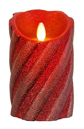 """Star LED-Wachskerze""""Twinkle Flame"""" gedrehte Struktur mit beweglicher Flamme, batterie betrieben Sichtkarton, 13 x 8 cm, rot 068-77"""