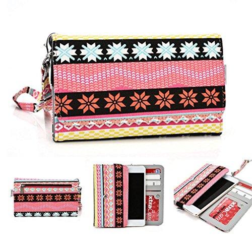 Kroo Téléphone portable Dragonne de transport étui avec porte-cartes pour Alcatel Hero 2 jaune rose