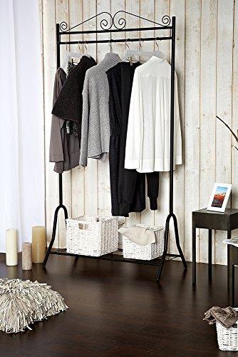 LIMAL Garderobe Metall Schwarz 46 x 90 x 172 cm | Stahlgestell | Schuhablage