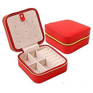 les bijoux en cuir portatifs organisateur box, stockage cas présentoir d'anneaux bijoux les boucles d'oreilles collier anneau extérieur cosmétiques (red)