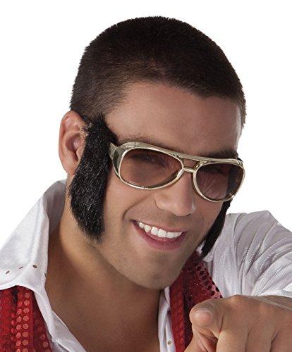 Brille mit Koteletten Kostüm Sonnenbrille, Gold (Elvis-koteletten)