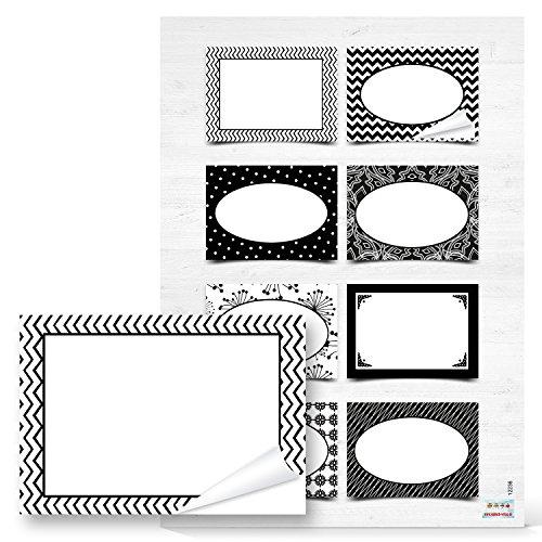 Preisvergleich Produktbild 16 Stück rechteckige schwarz weiße Etiketten für alle möglichen Anwendungsbereiche; 7 x 5 cm (2 A4 Bögen) (12236)