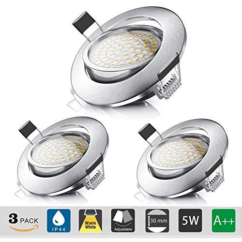 LED Einbaustrahler Ultra Flach IP44 für den Wohnbereich | auch für das Bad geeignet | Schwenkbare| 5W 230V Einbauspots Badleuchten,3 Stück Einbauleuchten (Warmweiß)