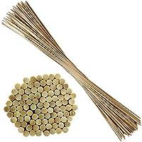 ORANGE DEAL 100 Pflanzstäbe   90 cm lang   aus Bambus   Ø 6 mm   40 Pflanzenbinder   30m Bindfaden   zu Verwenden als Blumen-, Rank- oder Pflanzstäbe   Sehr stabil