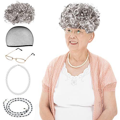 Beelittle Old Lady Kostüm Großmutter Cosplay Zubehör Set - Oma Perücke Perücke Kappe Brille Brillen Ketten Armband Perlenkette - 5 Stück (Mrs Kinder Claus Kostüm Für)