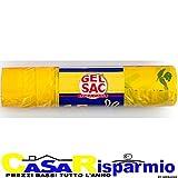GEL SAC 15 SACCHI PATTUMIERA IN POLIETILENE MISURA 55x65 CON MANIGLIA GIALLO TRASPARENTE PROFUMATO IN ROTOLO