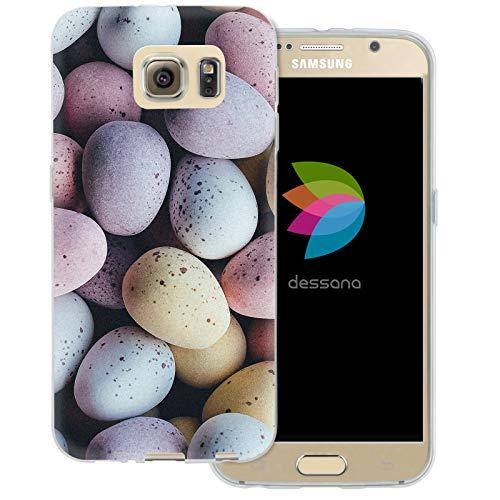 dessana Candy Süßigkeiten Transparente Schutzhülle Handy Case Cover Tasche für Samsung Galaxy S6 Oster Eier