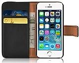 iPhone SE, iPhone 5/5s Lederhülle | JAMMYLIZARD Ledertasche [ Retro Series ] Leder Hülle Flip Case Cover Schutzhülle mit Kartenfach, Schwarz