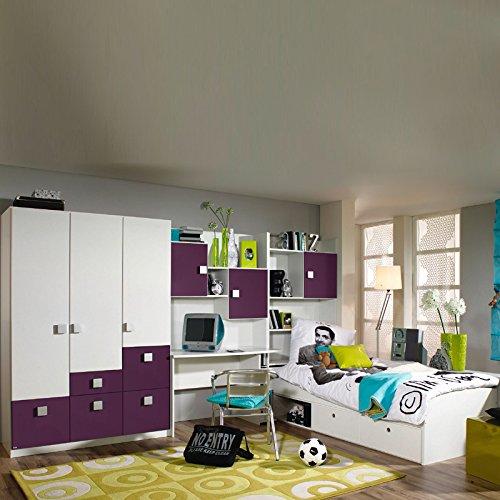 Komplett Kinderzimmer Jugendzimmer weiß brombeer Kleiderschrank Kindermöbel Bett