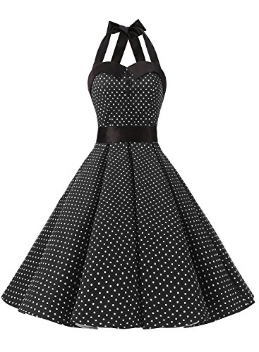 Dressystar, vestito a fiori da cocktail party con fascia in vita, stile retrò/rockabilly anni '50 - '60 Black Small