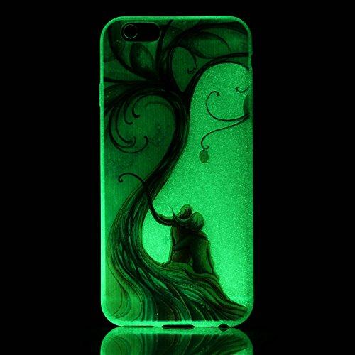 Coque iPhone 6S,Coque iPhone 6,Étui iPhone 6 / 6S Coque Cover Case,ikasus® Coque iPhone 6 / 6S Silicone Étui Housse Téléphone Couverture TPU lumineuse nocturne lumineux translucide avec Motif peint co Arbre des amoureux