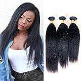 PURUN Tissage Cheveux Humain Yaki Straight Lot de 3 Bundles 300g Vierge Bresilien Vrai Cheveux Remy Raide Hair Naturel Couleur Cheap 14 16 18 pouces