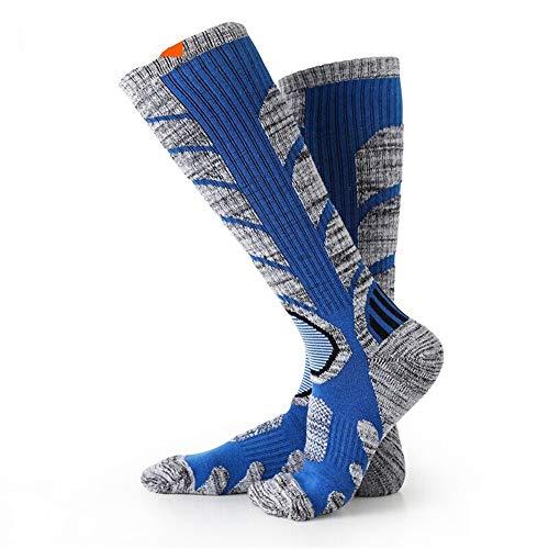 ASDFGG-hm Skisocken 2 Paar Ski Socken Herren Kniestrümpfe Winter-Performance-Socken for den Winter im Freien Ski Snowboard Bergsteigen Wandern (Farbe : Blau, Größe : L)