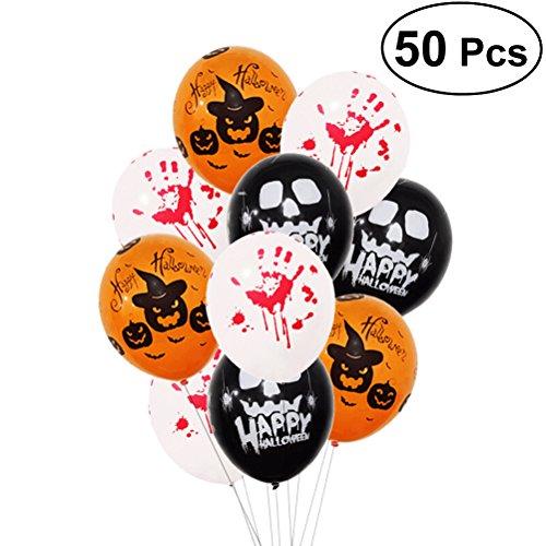 STOBOK 50 stücke Halloween Party Latex Ballons Spuk Scary Blutige Handabdrücke Kürbis Ballons Halloween Party Dekorationen Requisiten 12 Zoll