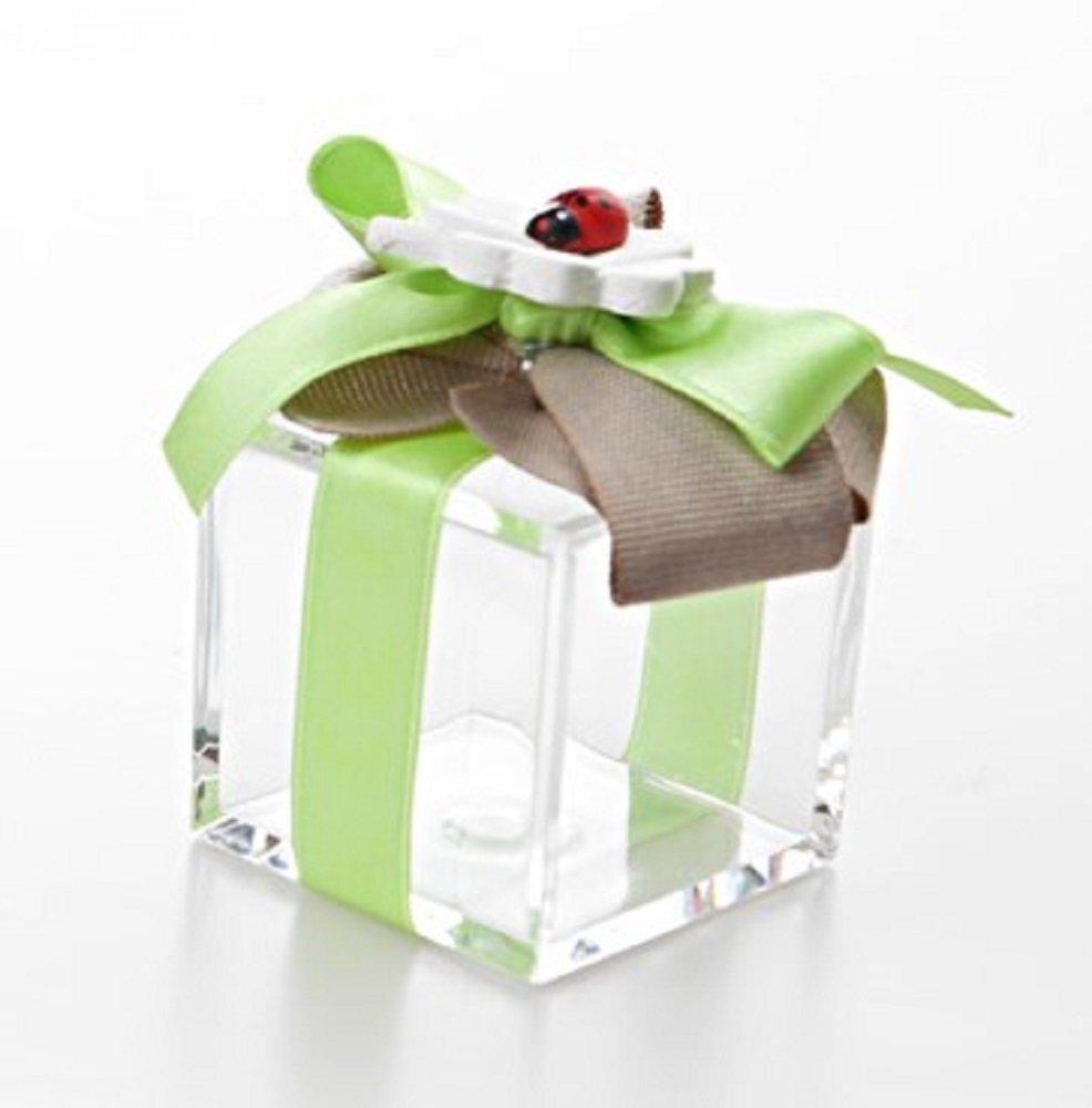 Bomboniera con confetti, con QUADRIFOGLIO e COCCINELLA Scatola Plexiglass con Fiocco Verde con conf