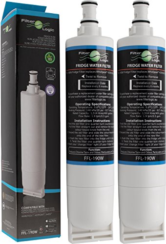 2 x FilterLogic FFL-190W - Filtre à eau compatible aux modèles Whirlpool SBS002, USC009, 4396508, SBS001, SBS003, 481281729632, 461950271171, 481281728986 frigo américain