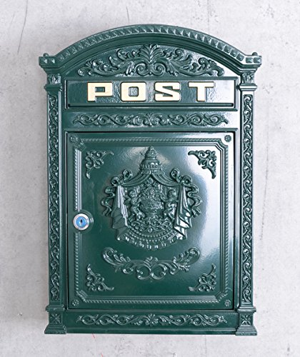 Historischer Wandbriefkasten, Briefkasten, Briefbehälter, Eisenbriefkasten, Kasten im Stil der Gründerzeit aus Gusseisen in Grün - Palazzo Exclusive