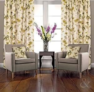 Oriental Curtains Floral Heavy Half Panama Cotton Pencil
