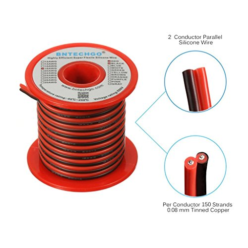 BNTECHGO 18 Gauge Flexible 2 Conductor Parallel Silicone Wire Spool Red Black High Resistant 200 deg C 600V for Single Color LED Strip Extension Cable Cord,model,lead wire 25ft Stranded Copper Wire -