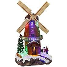 HOME VILLAGE 5MAI496MC Moulin Animé avec 6 Ampoules LED Résine/Poly résine Multicolore