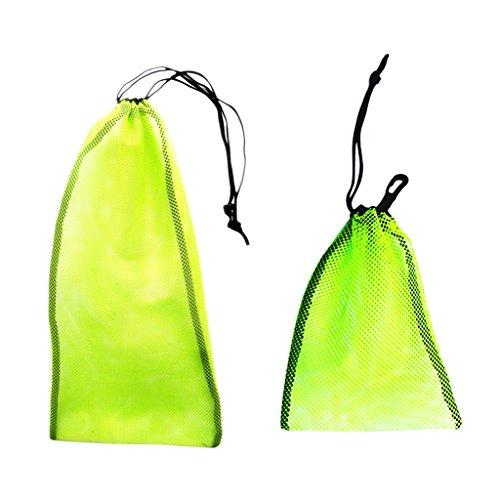 MagiDeal 2 Stück Mesh Bag, (2 Größen) Netztasche für Tauchen Schnorcheln Schwimmen Ausrüstung wie Flossen Schnorchel Tauchbrille Tauchermaske zu Aufbewahrung und Transport Tragetasche - Gelb