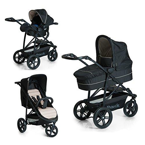 Hauck 3 in 1 Rapid 3 Plus Kinderwagen Komplett-Trio Set, inkl. Kinderautositz Gruppe 0 für Isofix Base, Babywanne, kompakt zusammenfaltbar, leicht, ab Geburt bis 22 kg, schwarz beige