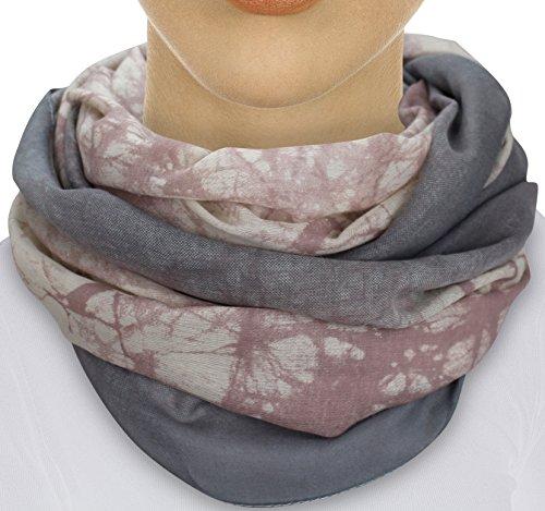 XXL TOP TREND Damen Schal leichter Schlauchschal Viele Farben (M1 Rosa/Grau)