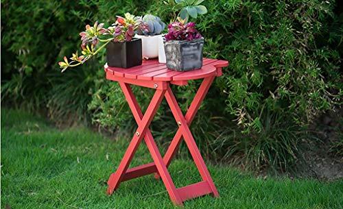YHEGV Blumenregale, Massivholzfalte Freizeit Kleiner Tisch Wohnzimmer Schlafzimmer Balkon Couchtisch Tragbarer Schreibtisch 29 * 20 * 43cm Einfaches Tragen (Farbe: Rot) -
