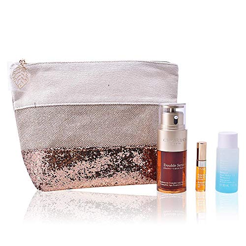Clarins Collection Double Serum 30 ML + Demaquillant Express Yeux + Eclat Minute Huile Confort Levres + Pochette - Eclat Collection