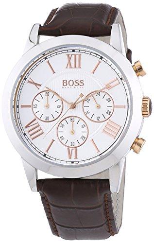 Hugo Boss  1512728 – Reloj de cuarzo para hombre, con correa de cuero, color marrón