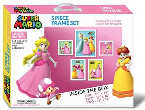 Posterbox-Set Super Mario Bros Prinzessinnen, gerahmt, 5-teilig (Mario Rosalina Prinzessin Super)