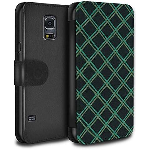 STUFF4 PU Pelle Custodia/Cover/Caso/Portafoglio per Samsung Galaxy S5 Mini / Verde/nero / Criss cross pattern disegno