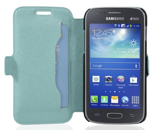 Cadorabo - Ultra Slim Book Style Hülle für Samsung Galaxy ACE 3 (GT-S7275) mit Kartenfach und Standfunktion - Etui Case Cover in ICY-BLAU