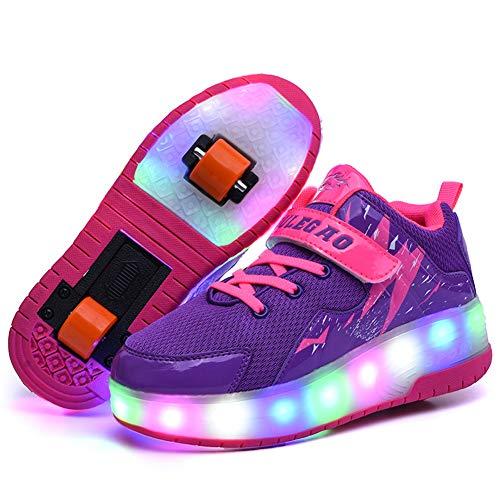 MNVOA Unisex Kinder Mode LED Schuhe mit Rollen Drucktaste Einstellbare Vibration Leuchten Skateboardschuhe Outdoor Gymnastik Turnschuhe Für Junge Mädchen,Purple,31EU