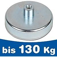 Flachgreifer Magnet Topfmagnet mit Gewindebuchse - Ferrit (HF) Hartferrit - Durchmesser: Ø 10 - 125mm - Haftkraft: bis 130kg - Magnetsysteme mit Gewinde-Buchse - Montagemagnete Befestigungsmagnete, Größen:Ø 50mm | M6 | 22kg Haftkraft