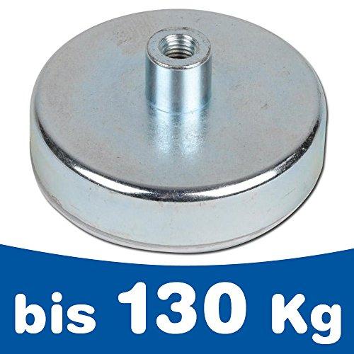 Flachgreifer Topfmagnet Hartferrit Gewindebuchse verzinkt Ø 10mm - Ø 125mm - Flachgreifer kommen vor allem im Metallbau, Anlagenbau, Vorrichtungsbau, Messebau, Modellbau zum Einsatz, Größen:Ø 50mm | M6 | 22kg Haftkraft