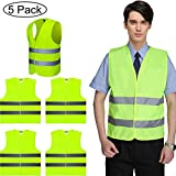 JTENG High Visibility Vests Car Set of 5 High Visibility Reflective Strips and Velcro Breakdown Aid Washable Car Neon Yellow