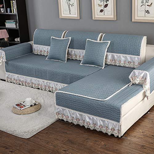 SO&FN Stretch Sofa Überwurf, Modern Anti-rutsch Sofa Decken Möbel Protektor Dicke Couch Abdeckungen Schnitt Lounge Vier Jahreszeiten-blau 70x210cm(28x83inch) - Lounge-sectional
