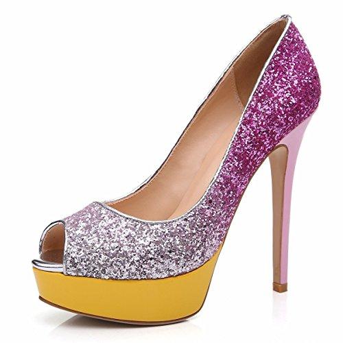 uBeauty - Scarpe da Donna - Scarpe col Tacco - Scarpe con plateau - Scarpe peep toe Multicolore Rosso