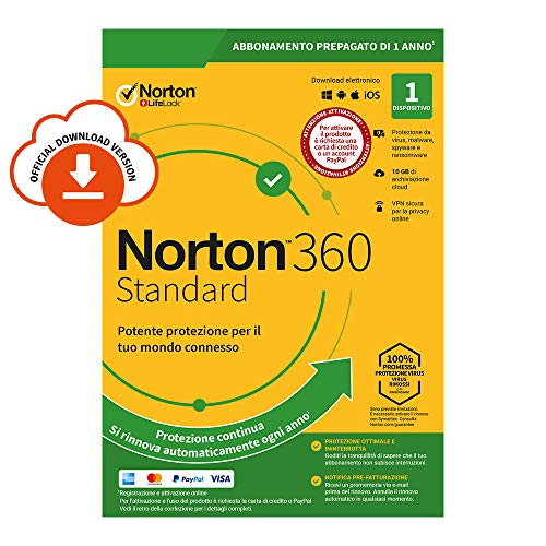 Norton 360 Standard 2020 | 1 Dispositivo | Licenza di 1 anno | Secure VPN e Password Manager | PC, Mac, tablet e smartphone | Codice d'attivazione via email