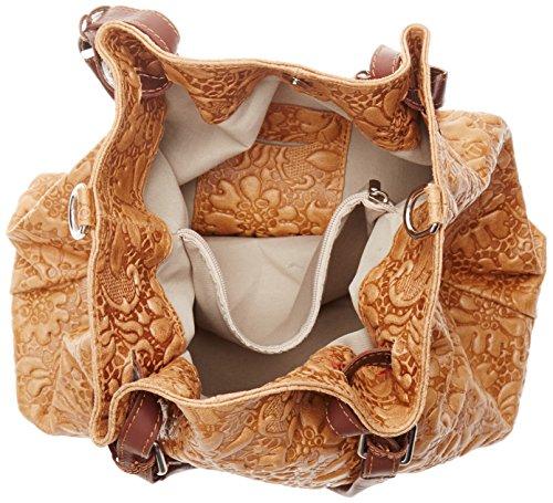 Chicca Borse Damen 80049 Umhängetasche, 32.5x28x16.50 Cm Orange (cuoio)