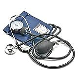 Belmalia Sfigmomanometro Aneroide con Stetoscopio, Pera, Manometro, Bracciale, Borsa per Servizio di Emergenza, Medico, Consultazione, Blu Nero